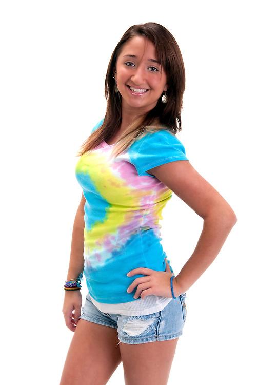 Young hispanic teen very happy and cheerful.
