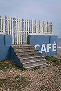 A seaside landscape of the outdoor seafront cafe that was once a part of the St Leonards Bathing pool opened 1933, on 3rd May 2021, in St Leonards, Sussex, England.