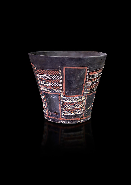 Minoan Kamares Ware sup with bold geometric polychrome decorations , Phaistos 1900-1700 BC; Heraklion Archaeological  Museum, black background.<br /> <br /> This style of pottery is named afetr Kamares cave where this style of pottery was first found .<br /> <br /> If you prefer to buy from our ALAMY PHOTO LIBRARY  Collection visit : https://www.alamy.com/portfolio/paul-williams-funkystock/minoan-art-artefacts.html . Type -   Heraklion   - into the LOWER SEARCH WITHIN GALLERY box. Refine search by adding background colour, place, museum etc<br /> <br /> Visit our MINOAN ART PHOTO COLLECTIONS for more photos to download  as wall art prints https://funkystock.photoshelter.com/gallery-collection/Ancient-Minoans-Art-Artefacts-Antiquities-Historic-Places-Pictures-Images-of/C0000ricT2SU_M9w
