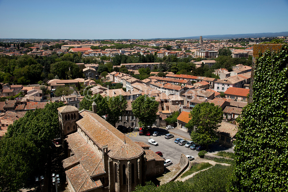 Looking over the walls of the Cité de Carcassonne over the city of Carcassonne, a town located in the French city of Carcassonne, in the department of Aude, in the region of Languedoc-Roussillon.