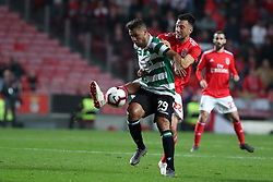 February 6, 2019 - Lisbon, Portugal - Benfica's midfielder Andreas Samaris (R ) vies with Sporting's forward Luiz Phellype from Brazil during the Portugal Cup Semifinal first leg football match SL Benfica vs Sporting CP at Luz stadium in Lisbon, on February 6, 2019. (Credit Image: © Pedro Fiuza/ZUMA Wire)