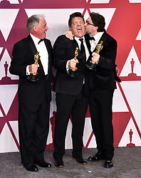Paul Massey, Tim Cavagin and John Casali with the award for best Sound Mixing for Bohemian Rhapsody in the press room at the 91st Academy Awards held at the Dolby Theatre in Hollywood, Los Angeles, USA.