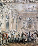 Fetes at Louveciennes, 1771.  Jean-Michel Moreau the Younger (1741-1814) French painter. Court painter to Louis XV from 1770. In 1769 Louis gave the Chateau of Louveciennes to his mistress Mme du Barry. Royal Court