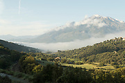 View of village on valley between mountains, Ponte Lucia, Corsica, France
