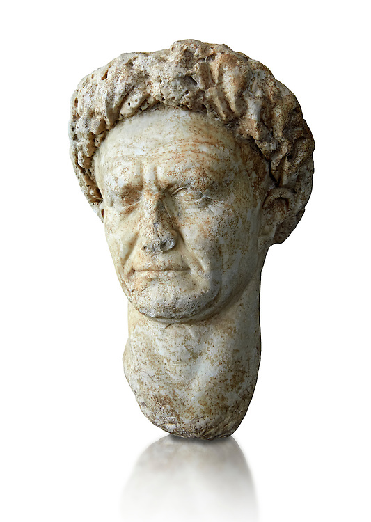 Roman Portrait bust of Roman Emperor Vespasian, circa  69 to 79 AD excavated from Minturno. Vespasian was Roman Emperor from AD 69 to AD 79. Vespasian founded the Flavian dynasty that ruled the Empire for twenty seven years. Vespasian was from an equestrian family that rose into the senatorial rank under the Julio–Claudian emperors. The National Roman Museum, Rome, Italy