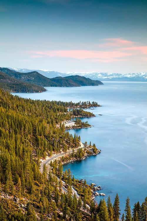 """Sunset at Lake Tahoe 40"" - Photograph of the wavy shoreline along Lake Tahoe's east shore, shot at sunset."