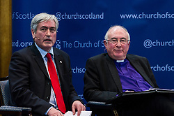 Pictured: Iain Gray and John Chalmers, Moderator of the Curch of Scotland<br /> <br /> The People Politics Hustings,  organised by the Church of Scotland, allowed voters to question SNP deputy John Swinney, Scottish Labour leader Kezia Dugdale, Scottish Liberal Democrat leader Willie Rennie, Scottish Greens co-convener Patrick Harvie and former Scottish Conservatives leader Annabel Goldie ahead of the Scottish Elections. Before the politicians had a chance to speak they had a chance to listen to five speakers with different viewpoints on how Scotland has supported them in the past and how it should support them in the future..<br /> Ger Harley | EEm 4 April 2016