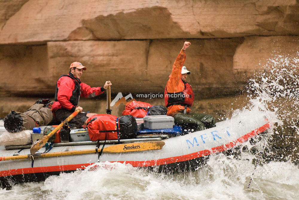 """Upset Rapid, """"Go Left, Have Faith"""" on the Colorado River in the Grand Canyon National Park, Arizona."""