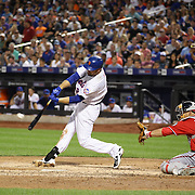 Lucas Duda, New York Mets,  hits a solo home run in the 4th inning during the New York Mets Vs Washington Nationals. MLB regular season baseball game at Citi Field, Queens, New York. USA. 1st August 2015. (Tim Clayton for New York Daily News)