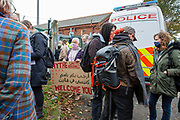 'Welcome To Folkestone' About 400 local residents and community groups including Kent Refugee Action Network and Samphire came together outside Napier Barracks to show the people staying there that they are welcome to the town on the 17th of October 2020 in Folkestone, United Kingdom. In September 2020 Napier Barracks a former military camp was transformed into an assessment and dispersal facility for 400 asylum seekers by the Home Office. (photo by Andrew Aitchison)