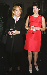 Left to right, LADY WYATT widow of Lord (Woodrow) Wyatt and her daughter the HON.PETRONELLA WYATT, at a party in London on 9th December 1998.<br /> MMU 9