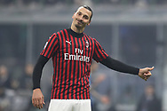 Zlatan Ibrahimovic of AC Milan reacts as Stefan de Vrij of Inter looks on during the Serie A match at Giuseppe Meazza, Milan. Picture date: 9th February 2020. Picture credit should read: Jonathan Moscrop/Sportimage