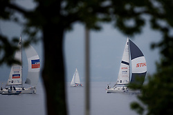 Yachts struggle in light winds on day 1 of Match Race Germany. World Match Racing Tour. Langenargen, Germany. 20 May 2010. Photo: Gareth Cooke/Subzero Images/WMRT