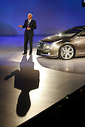 General Motors Vice Chairman Bob Lutz introduces the Cadillac Converj electric luxury coupe concept during media week of the North American International Auto Show in Detroit, Michigan Sunday, January 11, 2009. The four-passenger vehicle will provide up to 40 miles of gas-and-emissions-free electric driving with extended-range capability of hundreds of miles.