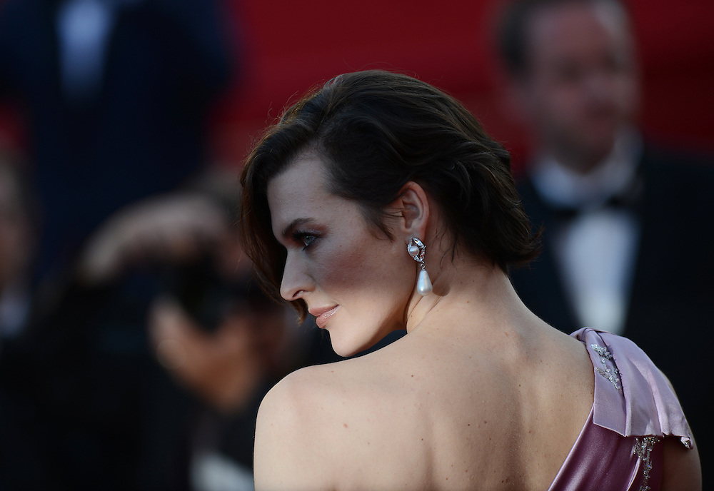 Model Milla Jovovich  during the Red Carpet of 'On The Road' at  65th Annual Cannes Film Festival at Palais des Festivals on May 23, 2012 in Cannes, France..Photo Ki Price.