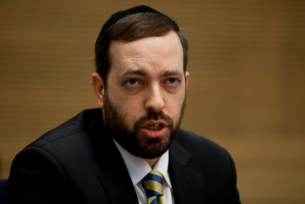 Israel's Minister of Housing and Construction Ariel Atias attends a session of the State Control Committee at the Knesset, Israel's parliament in Jerusalem, on February 6, 2012.