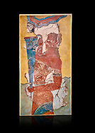 The Minoan 'Cup Bearer' from the 'Procession Fresco', wall art from the South Prpylaeum, Knossos Palace, 1500-1400 BC . Heraklion Archaeological Museum. Black Background. <br /> <br /> The 'Cup Bearer' depicts a youth with long black hair, a naked torso and a richly decorated kilt carrying a large silver rhuyhon ceremonial vessel. This large Minoan fresco of many figure in procession would have decorated the corridor between the West Porch and the South Propylaeum of Knossos Palace. Both sides of the corridor were painted with hundreds of male and femal;e figures carrying precious utensils and vessels, probably depicting gift bearers to the ruler of the Palace. The composition is much like those found in the Palaces and tombs of Egypt and the near east at the time. Neopalatial final period. .<br /> <br /> If you prefer to buy from our ALAMY PHOTO LIBRARY  Collection visit : https://www.alamy.com/portfolio/paul-williams-funkystock/minoan-art-artefacts.html . Type -   Heraklion   - into the LOWER SEARCH WITHIN GALLERY box. Refine search by adding background colour, place, museum etc<br /> <br /> Visit our MINOAN ART PHOTO COLLECTIONS for more photos to download  as wall art prints https://funkystock.photoshelter.com/gallery-collection/Ancient-Minoans-Art-Artefacts-Antiquities-Historic-Places-Pictures-Images-of/C0000ricT2SU_M9w