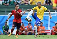 v.l. Jose Vazquez (Mexiko), Dani Alves<br /> Fussball, FIFA WM 2014 in Brasilien, Vorrunde, <br /> Brasil - Mexico<br /> <br /> Norway only