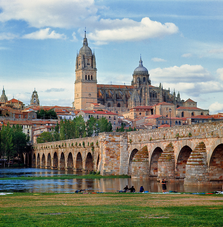 The Roman bridge over the Tormes River in Salamanca, Spain, dates from the First Century B.C.