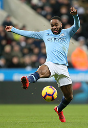 """Manchester City's Raheem Sterling during the Premier League match at St James' Park, Newcastle. PRESS ASSOCIATION Photo. Picture date: Tuesday January 29, 2019. See PA story SOCCER Newcastle. Photo credit should read: Richard Sellers/PA Wire. RESTRICTIONS: EDITORIAL USE ONLY No use with unauthorised audio, video, data, fixture lists, club/league logos or """"live"""" services. Online in-match use limited to 120 images, no video emulation. No use in betting, games or single club/league/player publications."""