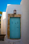 Door in the Skala town of the greek island Patmos in the Skala town of the greek island Patmos