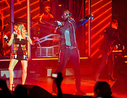 """COLUMBIA, MD - June 9th, 2011: Fergie, Will.I.Am and Taboo of the Grammy Award-wining hip-hop group The Black Eyed Peas perform at Merriweather Post Pavilion in Columbia, MD. The group recently released the single """"Don't Stop The Party"""" from their sixth studio album, The Beginning. (Photo by Kyle Gustafson/For The Washington Post)"""