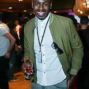 London,England,UK. 14th May 2017. Ben Ofoedu attends the after party of the BBL Play-Off Finals also fundraising for Hoops Aid 2017 but also a major fundraising opportunity for the Sports Traider Charity at London's O2 Arena, UK. by See Li