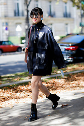 Street style, Leaf Greener arriving at Giambattista Valli Spring Summer 2017 show held at Grand Palais, in Paris, France, on October 3, 2016. Photo by Marie-Paola Bertrand-Hillion/ABACAPRESS.COM