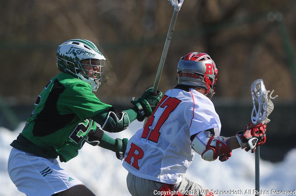 Rutgers Lacrosse defeats Manhattan 15-6 on Feb. 10, 2013 at Rutgers Field Complex in Piscataway, New Jersey.