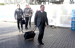 Celtic's manager Brendan Rodgers arrives for the match against Heart of Midlothian in the Betfred Cup semi final match at BT Murrayfield Stadium, Edinburgh.