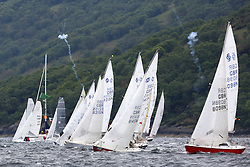 The Silvers Marine Scottish Series 2014, organised by the  Clyde Cruising Club,  celebrates it's 40th anniversary.<br /> Day 2 National Sonata start with individual recall. <br /> Racing on Loch Fyne from 23rd-26th May 2014<br /> <br /> Credit : Marc Turner / PFM