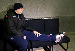 Matej Gaber of Slovenia has twisted his ankle during practice session of Slovenia team and waiting for transport to hospital 1 day before handball match against Macedonia for 5th place at 10th EHF European Handball Championship Serbia 2012, on January 26, 2012 in Beogradska Arena, Belgrade, Serbia.  (Photo By Vid Ponikvar / Sportida.com)