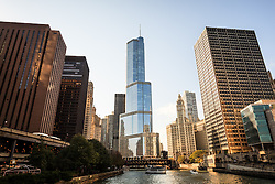 Chicago Trump Tower and downtown Chicago buildings along the Chicago River.