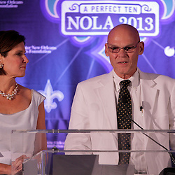 Sep 2, 2009; New Orleans, LA, USA; James Carville (r) and Mary Matalin talk at the podium after being introduced as co-chairs of the Super Bowl XLVII host committee during a Super Bowl XLVII press conference at the New Orleans Convention Center and Bureau.   Mandatory Credit: Derick E. Hingle-US-PRESSWIRE