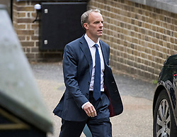© Licensed to London News Pictures. 20/08/2021. London, UK. Foreign Secretary DOMINIC RAAB is seen leaving The Foreign Office in Westminster. Raab is under pressure after it was revealed that he failed to make a telephone call to Afghanistan's foreign minister to request assistance with evacuating Afghan interpreters. Photo credit: Ben Cawthra/LNP