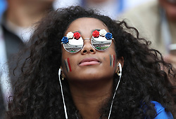 MOSCOW, July 15, 2018  A fan is seen prior to the 2018 FIFA World Cup final match between France and Croatia in Moscow, Russia, July 15, 2018. (Credit Image: © Fei Maohua/Xinhua via ZUMA Wire)