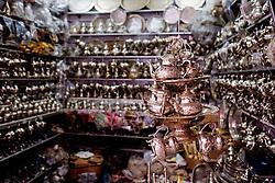 Silverware for sale in the Medina in Marrakech, Morocco, North Africa<br /> <br /> (c) Andrew Wilson | Edinburgh Elite media
