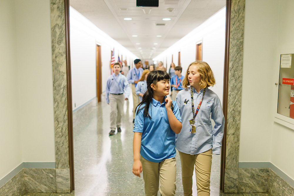 Washington, D.C. - October 07, 2016: Hyperbolics members Claire Meng, left, and Lily Brown, right, walk ahead of the other Hyperbolics en route to lunch through the Dirksen Senate Office Building.<br /> <br /> The Hyperbolics are a First Lego League team based out of Sterling School in Greenville SC, who made a trip to DC ask government officials to ban lead wheel weights Friday October 7, 2016.<br /> <br /> <br /> CREDIT: Matt Roth for Earthjustice