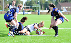 Amber Reed of Bristol Bears Women has just scored a try - Mandatory by-line: Paul Knight/JMP - 02/09/2018 - RUGBY - Shaftsbury Park - Bristol, England - Bristol Bears Women v Dragons Women - Pre-season friendly