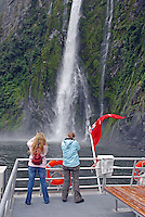 Milford Sound is New Zealand's top tourist destination. It was described by Rudyard Kipling as the Eigth Wonder of the World. Geographically it is not a sound but a fijord. It is 15 kilometres long and its sheer rock interfaces rise to 1200 metres. 201004055050..© Victor Patterson, 54 Dorchester Park, Belfast, N Ireland. Tel: +44 2890661296; Mobile: +44 7802 353836; Emails: victorpatterson@me.com & victorpatterson@gmail.com; www.victorpatterson.com