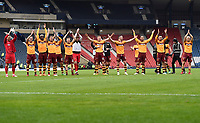 The Motherwell players celebrate at full time in the match between Motherwell v Aberdeen, William Hill Scottish Cup (SFA) - Semi-Final at Hampden Park. Saturday 14 April 2018, COLORSPORT