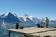 Sicht von Berghotel Faulhorn auf Eiger, Mönch und Jungfrau