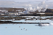 ICE.05BluLag.09.xrw..Blue Lagoon hot springs spa complex near Reykjavik, Iceland. The sulfurous electric-blue hot water is the byproduct of a geothermal electrical generating plant..