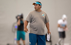 June 8, 2017 - Davie, Florida, U.S. - Miami Dolphins offensive coordinator Clyde Christensen at the Miami Dolphins training facility in Davie, Florida on June 8, 2017. (Credit Image: © Allen Eyestone/The Palm Beach Post via ZUMA Wire)