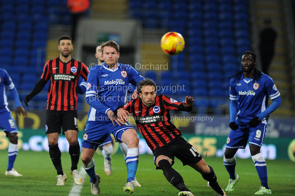 Cardiff city's Aron Gunnarsson © holds off Brighton's Inigo Calderon (14). Skybet football league championship match, Cardiff city v Brighton & Hove Albion at the Cardiff city Stadium in Cardiff, South Wales on Tuesday 10th Feb 2015.<br /> pic by Andrew Orchard, Andrew Orchard sports photography.