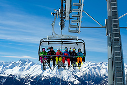 THEMENBILD - Sechser-Sessellift auf das Cimaros im Großglockner Resort Kals Matrei.. Kals am Großglockner, Österreich am Montag, 2. April 2018 // Six-seat chairlift to the Cimaros at the Grossglockner Resort Kals Matrei. Monday, April 2, 2018 in Kals am Grossglockner, Austria. EXPA Pictures © 2018, PhotoCredit: EXPA/ Johann Groder