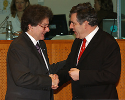 BRUSSELS, BELGIUM - MARCH-08-2005 - Left to Right -  Thierry Breton, Finance Minister of France, and Gordon Brown, Finance Minister of UK, share a laugh during the ECOFIN conference, a meeting of  European Union finance and economic ministers, in Brussels.