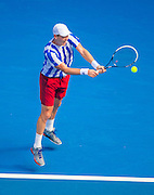 Tomas Berdych plays at the 2014 Australian Open.