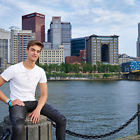 Sewickley, PA - June 18:  Quaker Valley High School student Alex Fox during his senior portrait session at Allegheny Landing in Pittsburgh, PA on June 18, 2021. (Photo by Shelley Lipton)