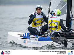 The 2019 49er, 49erFX and Nacra17 European Championships will be sailed off Weymouth and Portland, England from the 13th to 19th May, 2019. Hosted by the Weymouth And Portland National Sailing Academy, more than 400 sailors will race across the three Olympic classes.<br /> <br /> ©DREW MALCOLM / 2019 VOLVO EUROPEANS<br /> 18th May, 2019.